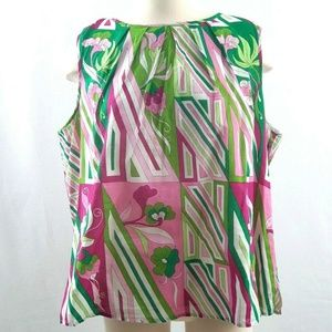Talbots Women Top Blouse Floral White Green Pink